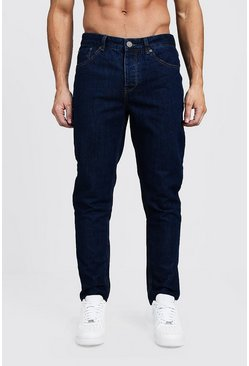 Mens Tapered Fit Mid Blue Denim Jeans