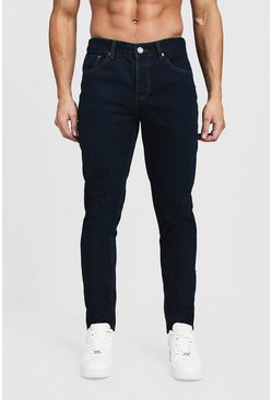 Jeans in denim blu scuro taglio tapered, Maschio