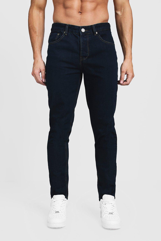 Top Tapered Fit Dark Blue Denim Jens | Boohoo US33