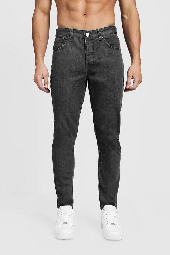 Tapered Fit Grey Denim Jeans