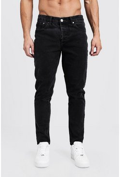 Jean coupe fuselée en denim anthracite, Homme