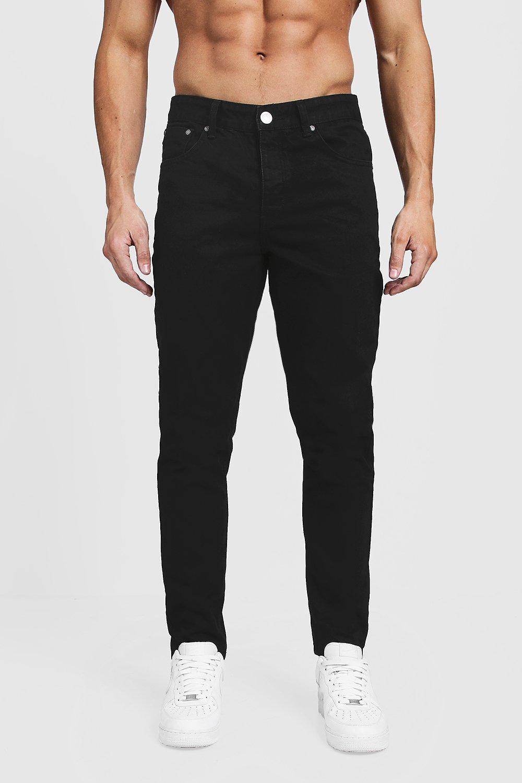 Tapered Fit Black Denim Jeans