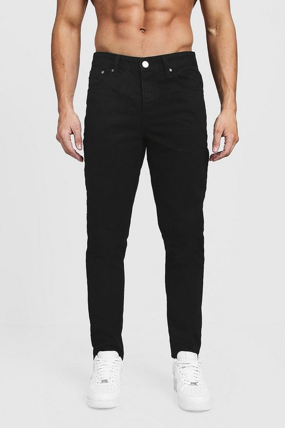 Mens Tapered Fit Black Denim Jeans