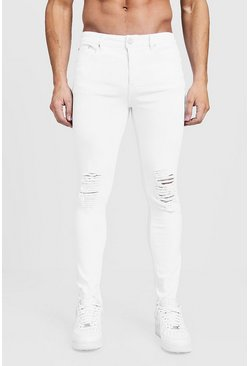 Mens White Skinny Fit Jeans With Ripped Knees