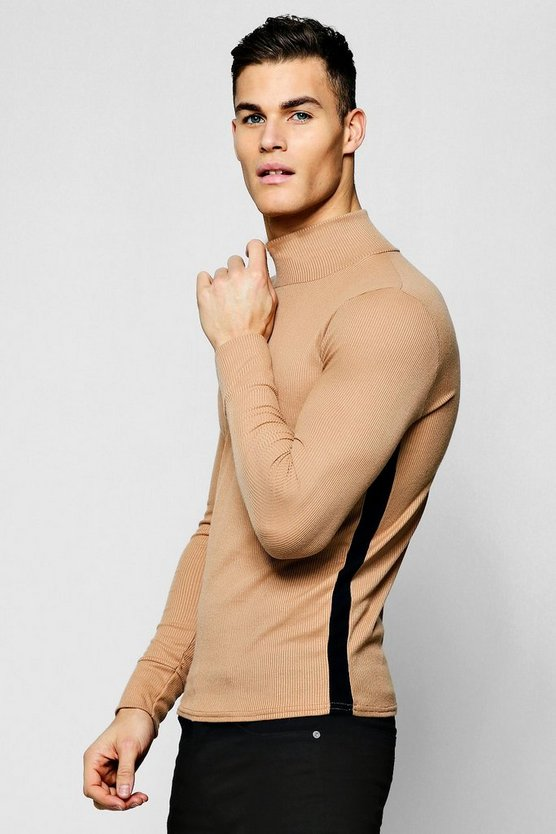 Mens Camel Ribbed Turtle Neck With Side Stripe