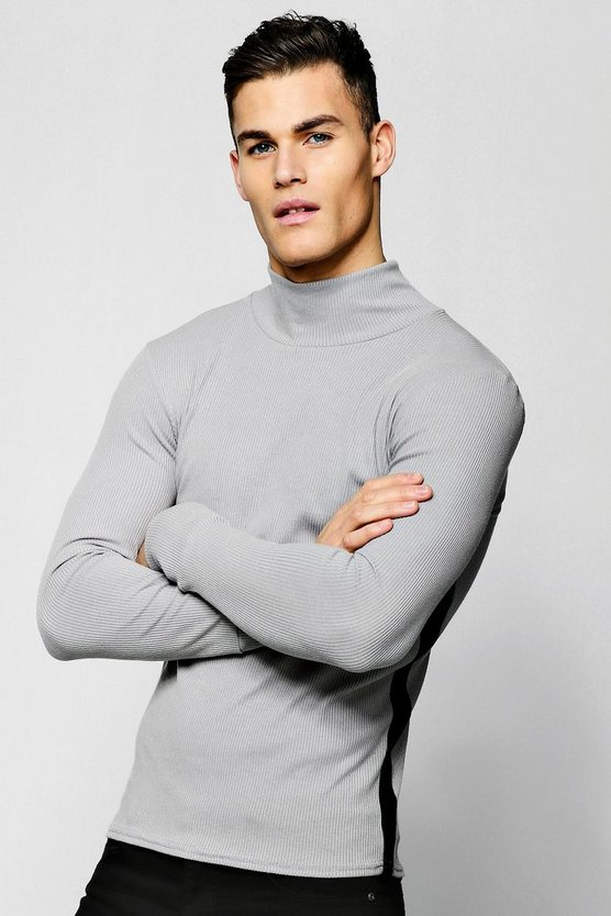 Mens Grey Ribbed Turtle Neck With Side Stripe