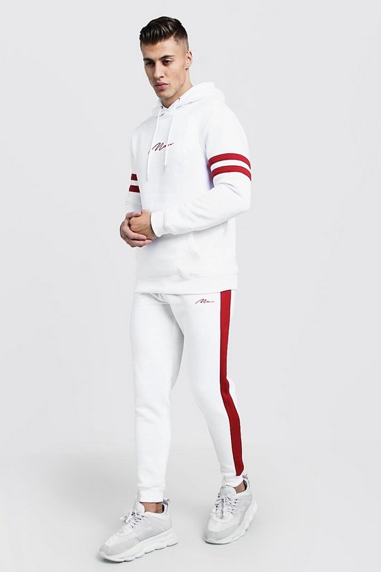 Mens White Valentines MAN Embroidered Tracksuit
