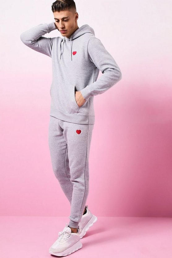 Valentines Tracksuit with Heart Embroidery