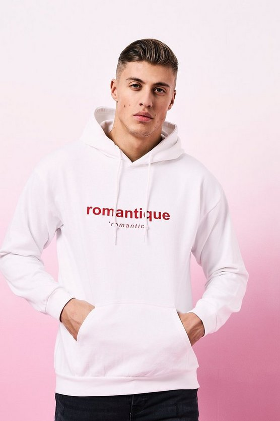 Mens White Valentines Romantic Printed Hoodie