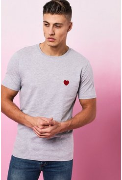 Mens Grey marl Valentines Heart Embroidered T-Shirt