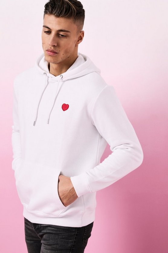 Valentines Heart Embroidered Hoodie