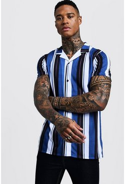 Mens Blue Vertical Stripe Short Sleeve Revere Jersey Shirt