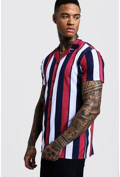 Red Vertical Stripe Short Sleeve Revere Jersey Shirt