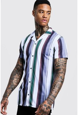 Mens Grey Vertical Stripe Short Sleeve Revere Jersey Shirt