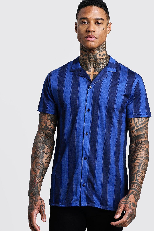 Vertical Stripe Short Sleeve Revere Jersey Shirt