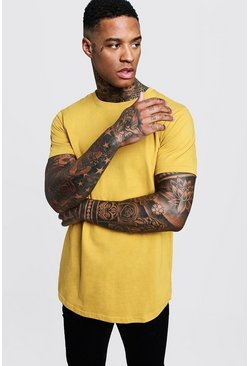 Mens Honey Short Sleeve Longline T Shirt With Curved Hem