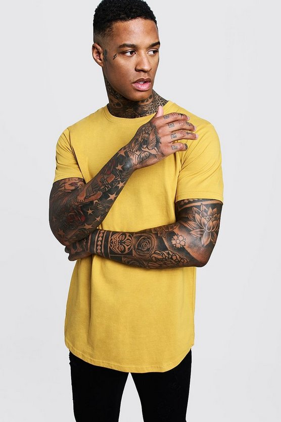 Short Sleeve Longline T Shirt With Curved Hem