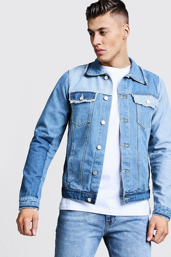 Mens Indigo Patchwork Denim Jacket