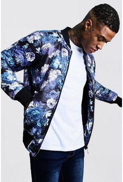 Mens Navy Floral Padded Bomber Jacket