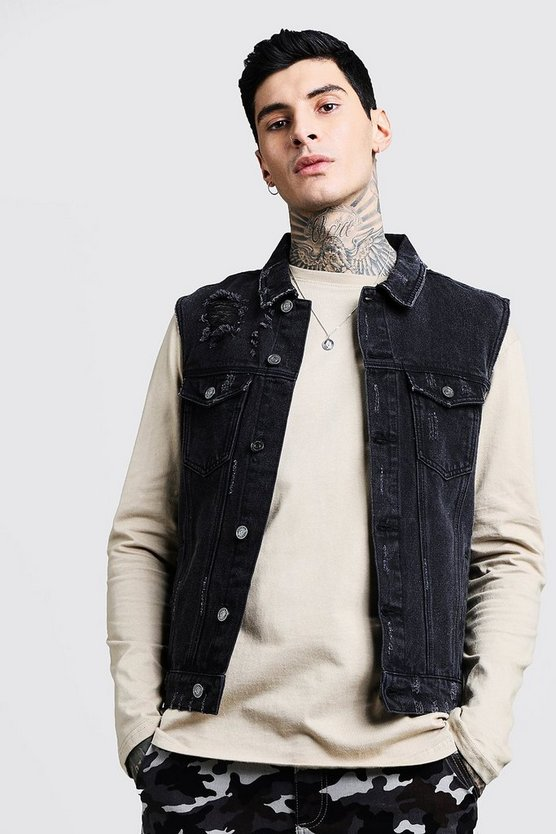 Mens Black Denim Sleeveless Jacket