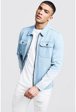 Mens Washed blue Light Denim Zip Through Jackets