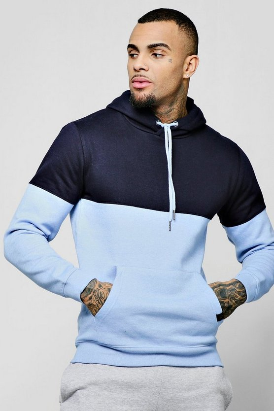 Mens Navy Colour Block Hoodie