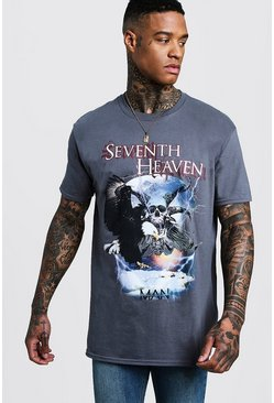 T-shirt oversize con motivo Seventh Heaven, Grigio, Maschio