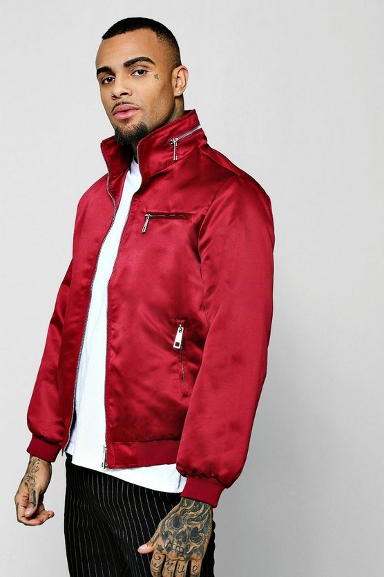 Sateen Zip Detail Harrington Jacket