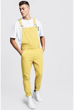 Mens Yellow Slim Fit Rigid Denim Dungarees
