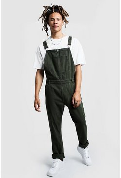 Mens Khaki Slim Fit Rigid Denim Dungarees