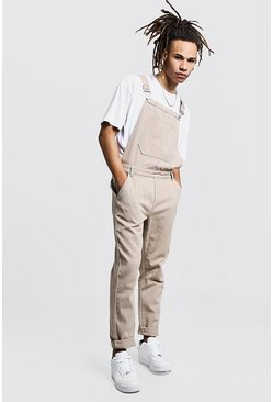 Mens Taupe Slim Fit Rigid Denim Dungarees