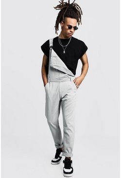 Mens Grey Slim Fit Rigid Denim Dungarees