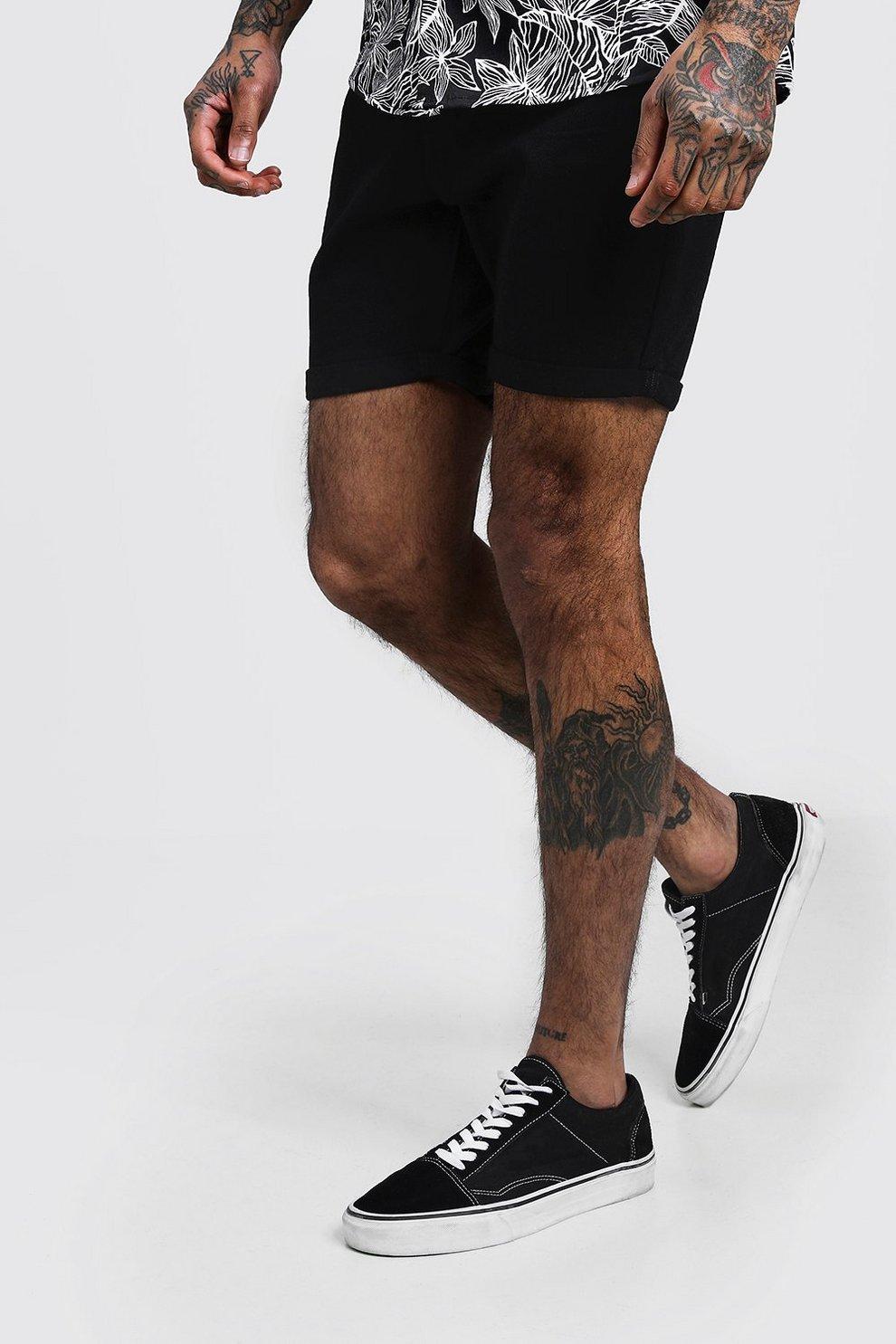 38555ed69a Mens Black Slim Fit Denim Shorts With Pintuck Detail