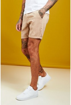 Mens Taupe Slim Fit Denim Shorts With Pintuck Detail