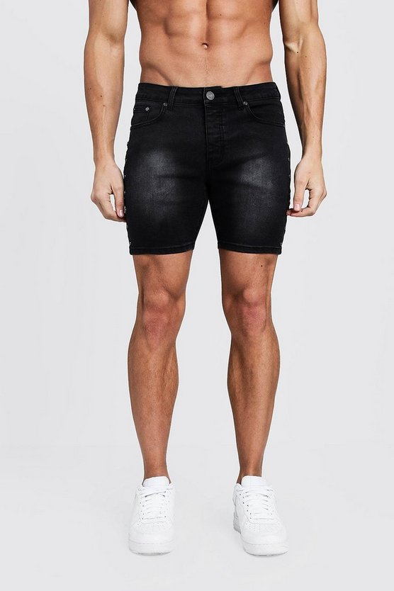 Mens Black Skinny Fit Denim Shorts With Studded Seams