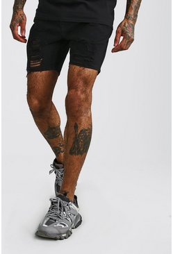 Black Slim Fit Heavily Distressed Denim Shorts
