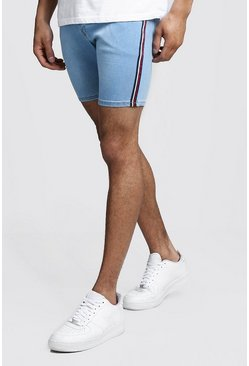 Mens Washed blue Skinny Fit Denim Shorts With Side Tape