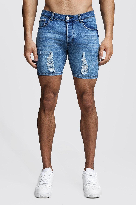 Skinny Fit Zip Detail Denim Shorts