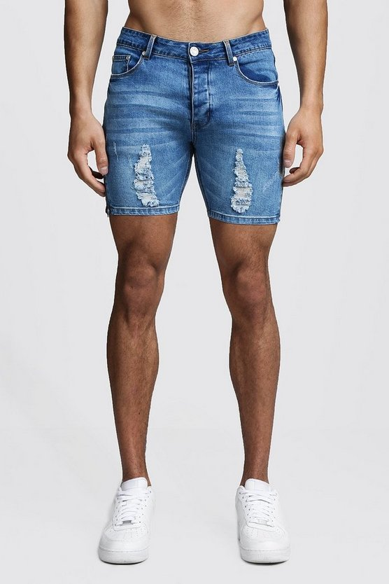 Mens Washed blue Skinny Fit Zip Detail Denim Shorts