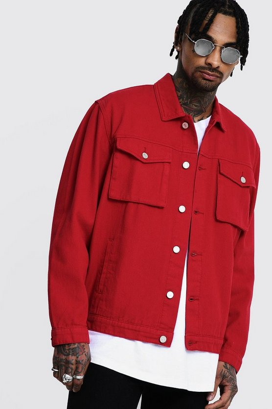 Mens Red Boxy Denim Utility Jacket
