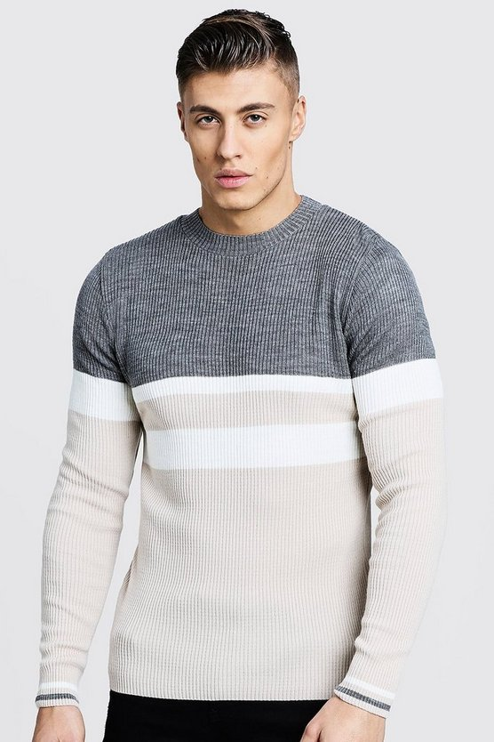 Stone Colour Block Ribbed Jumper