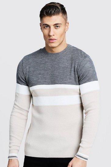 Mens Stone Colour Block Ribbed Jumper
