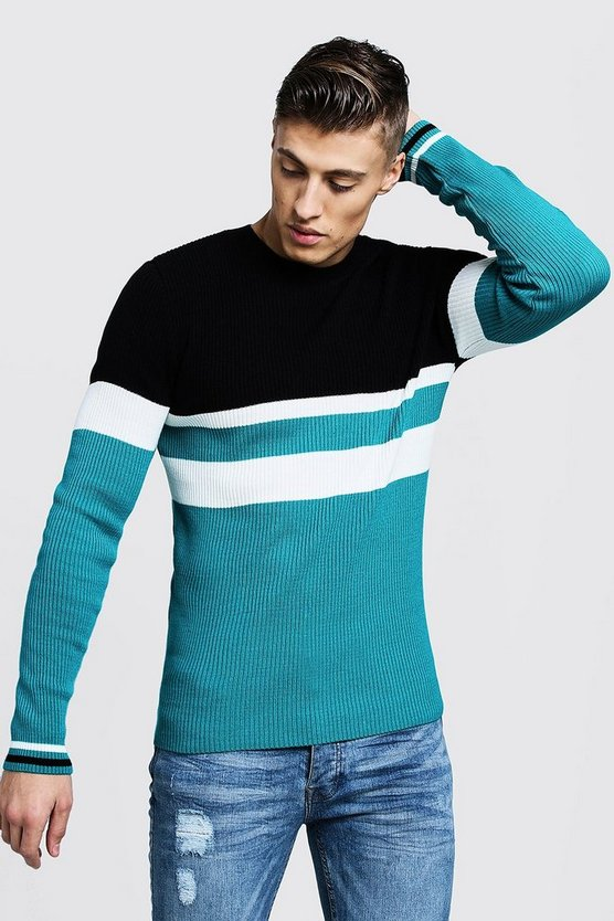 Mens Black Colour Block Ribbed Muscle Fit Sweater