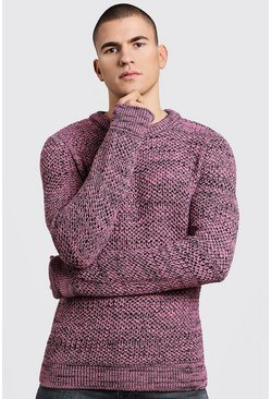 Mens Dusky pink Twisted Yarn Knitted Sweater