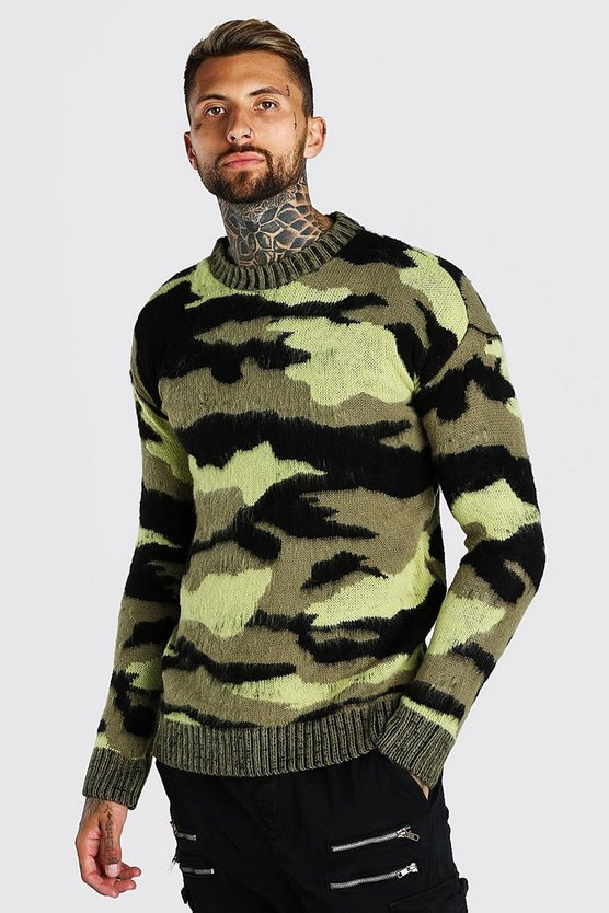 Brushed Knitted Camo Drop ShoulderJumper