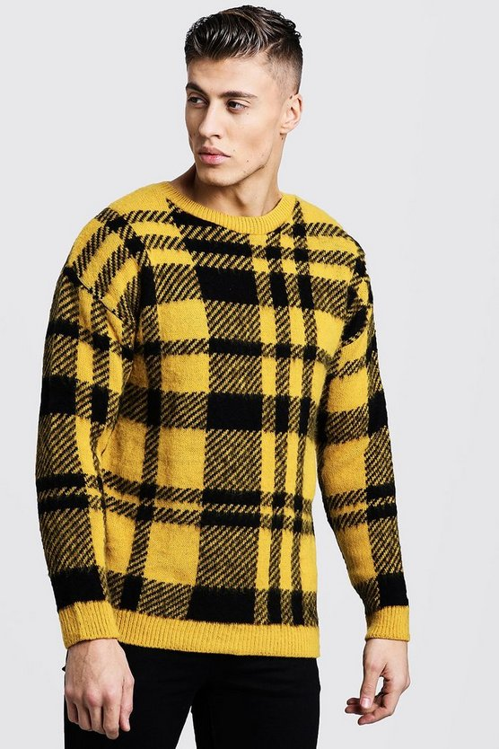 Brushed Check Knitted Drop Shoulder Jumper