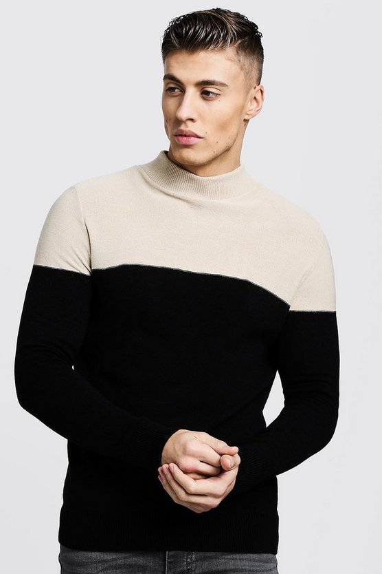 Muscle Fit Colour Block Turtle Neck Jumper