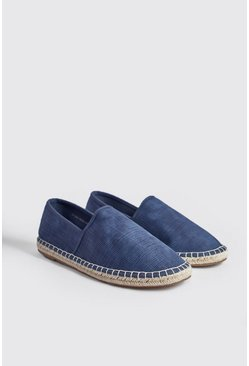 Mens Blue Hand Stitch Faux Leather Espadrille