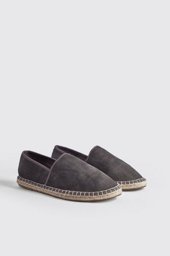 Mens Grey Hand Stitch Faux Leather Espadrille