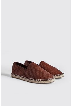 Mens Tan Hand Stitch Faux Leather Espadrille